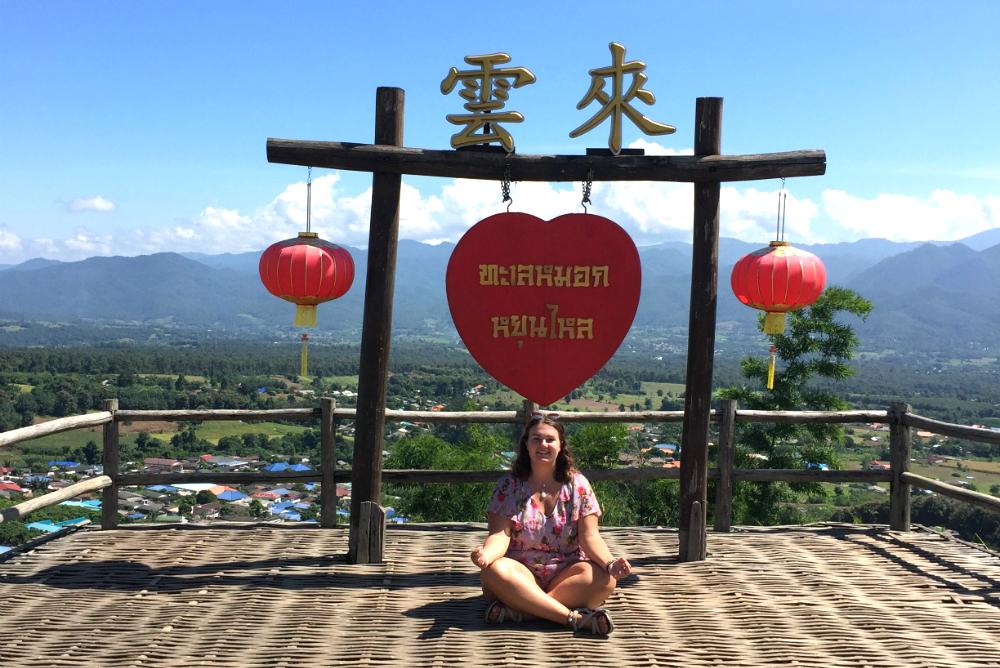 Aan de top van het bergdorpje Pai